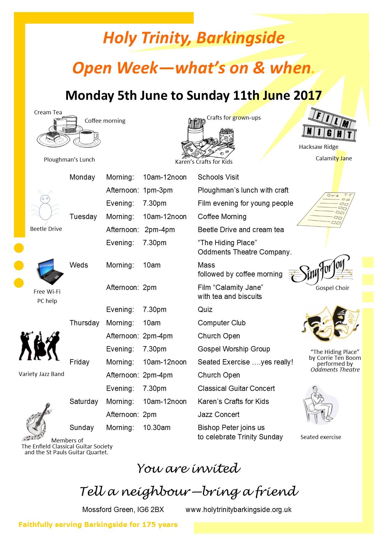 Open week timetable
